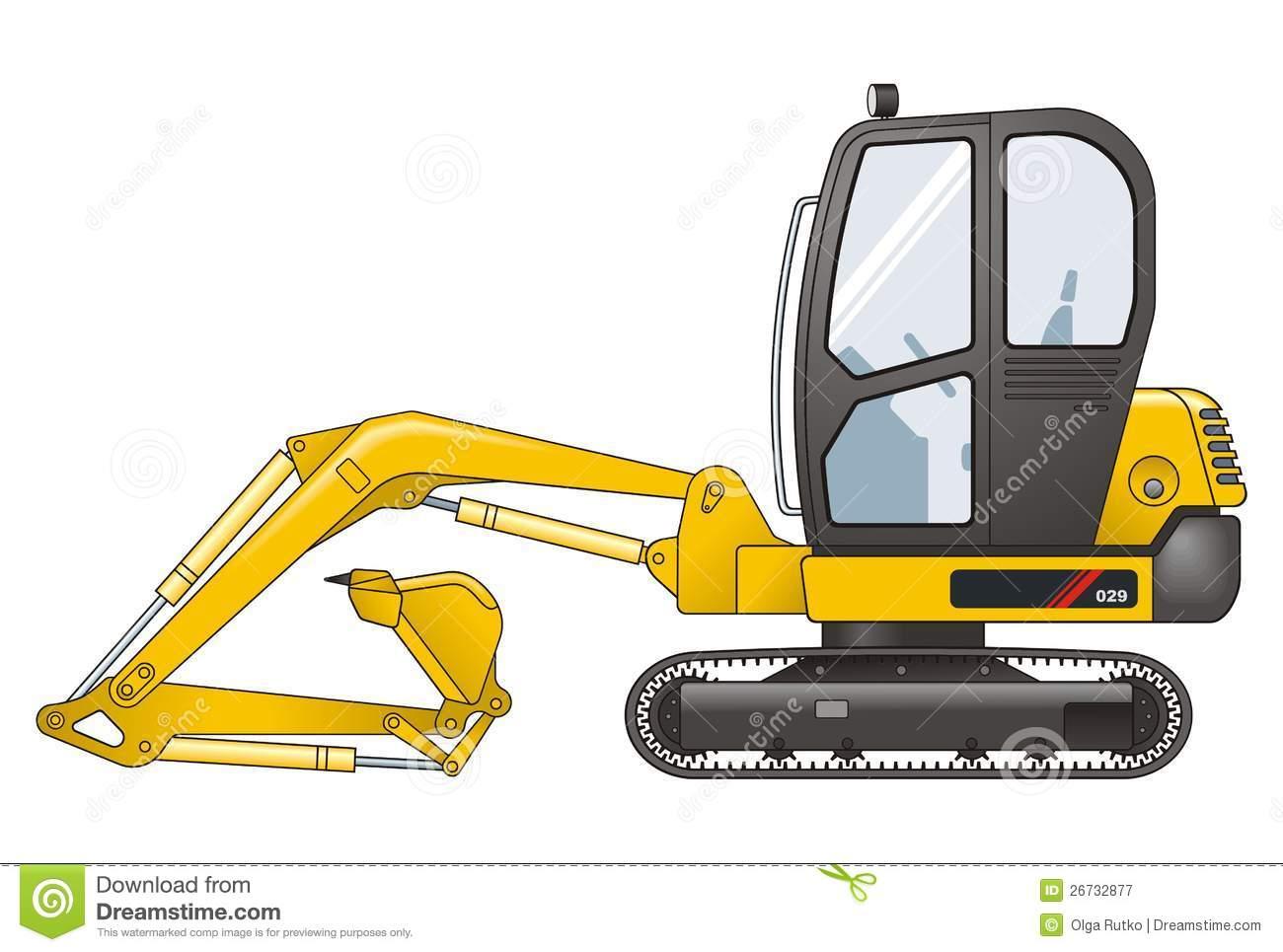 Excavator Black And White Cat Clipart.