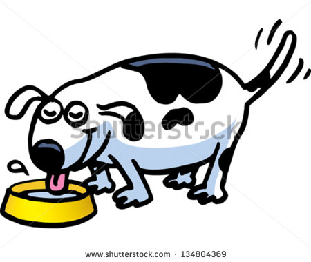 Dog Drinking Water Clipart.