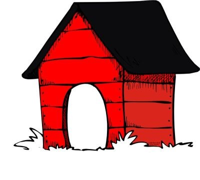 Dog in doghouse clipart.
