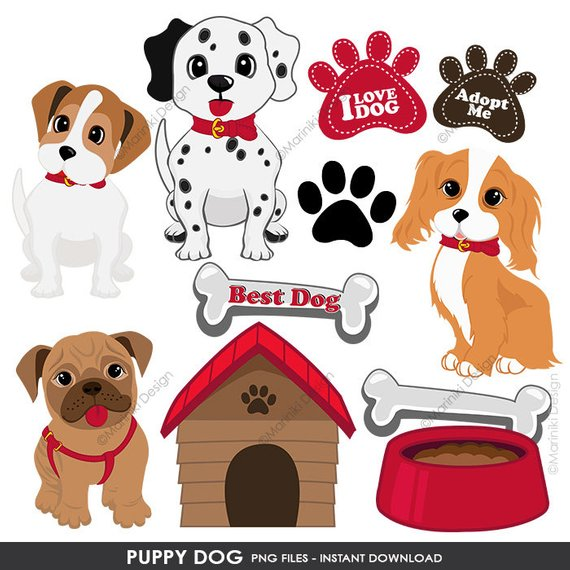 Puppy Dog Clipart, Puppy Clip Art, Cute Dogs Clipart for Scrapbook.