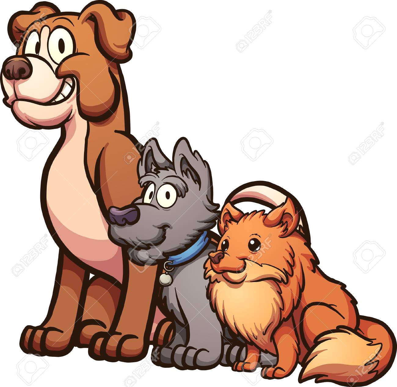 Big, medium and small size cartoon dogs sitting. Vector clip...