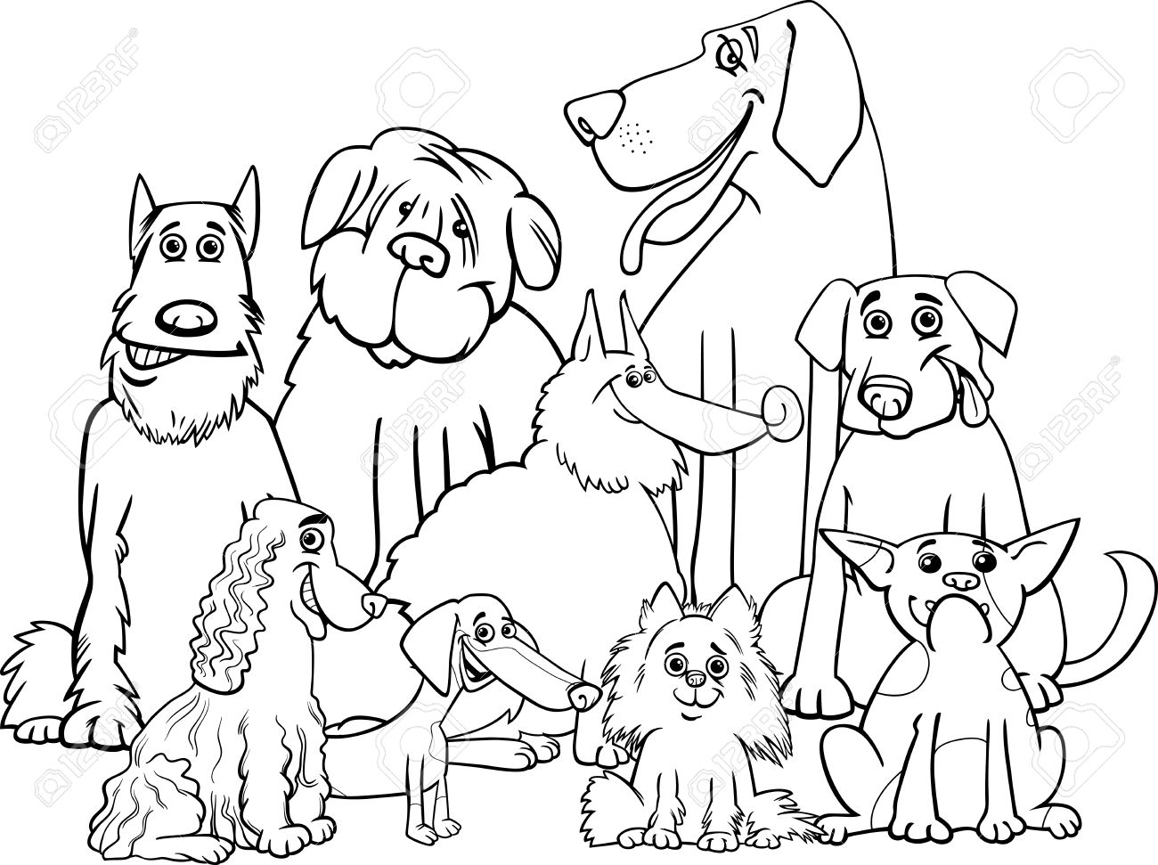 Black and White Cartoon Illustration of Purebred Dogs Animal...