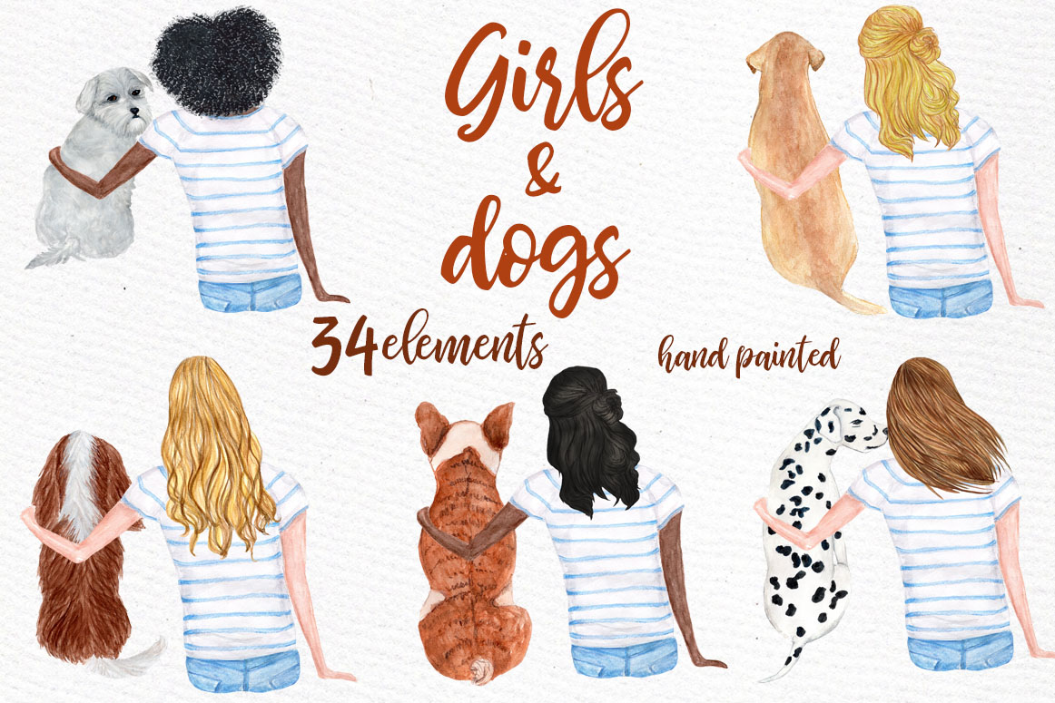 Watercolor Girls with Dogs Clipart.