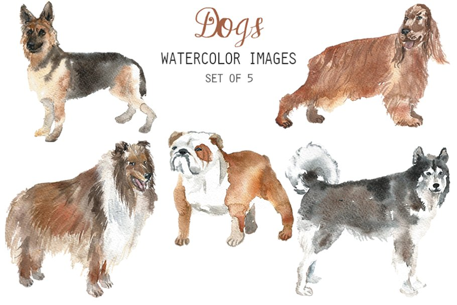 Watercolor Dogs Clipart.