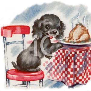 Cartoon of a Black Dog Preparing To Eat the Christmas Turkey Off.