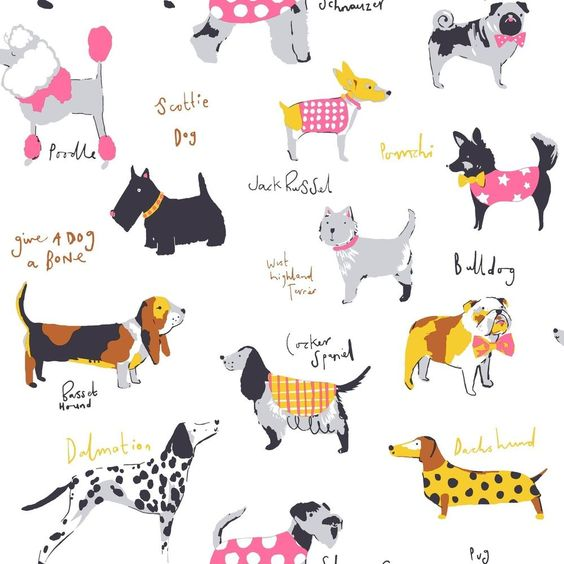 Details about Its a Dogs Life Dog Wallpaper in Multicolour by.