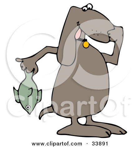 Clipart Illustration of a Brown Dog Holding A Stinky Dead Fish And.