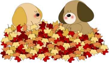 Dogs Playing in Leaves Clip Art.