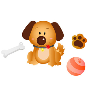 Clip Art of Dog Bone Ball and Paw Print.