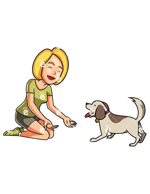 A Woman And her Small Dog Playing Together.