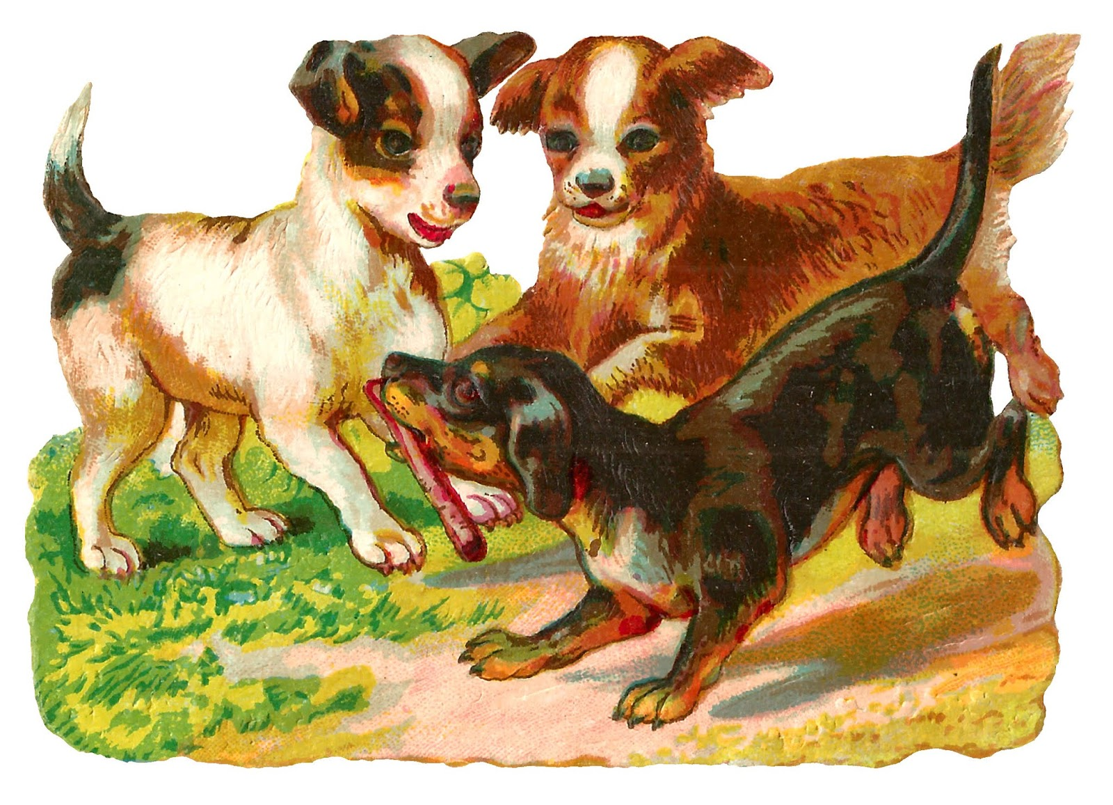 The Graphics Monarch: Free Antique Animal Clip Art Dog Playing Puppy.