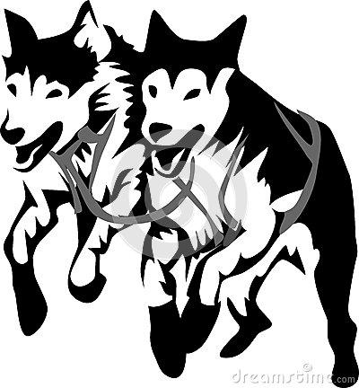 Sled dog clip art.