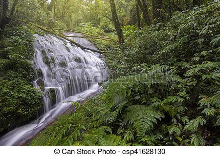 Stock Photos of Lan Sadej Waterfal at Doi Inthanon National Park.