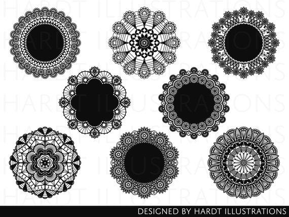 Black Doily Clipart, Doilies Clipart, Lace Doily Clipart.
