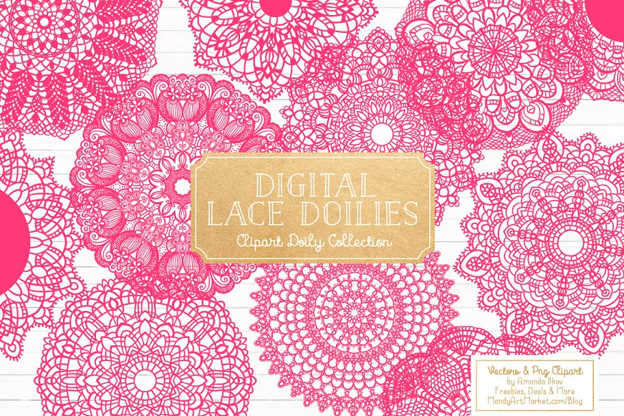 Hot Pink Lace Doilies, Doily Clipart.