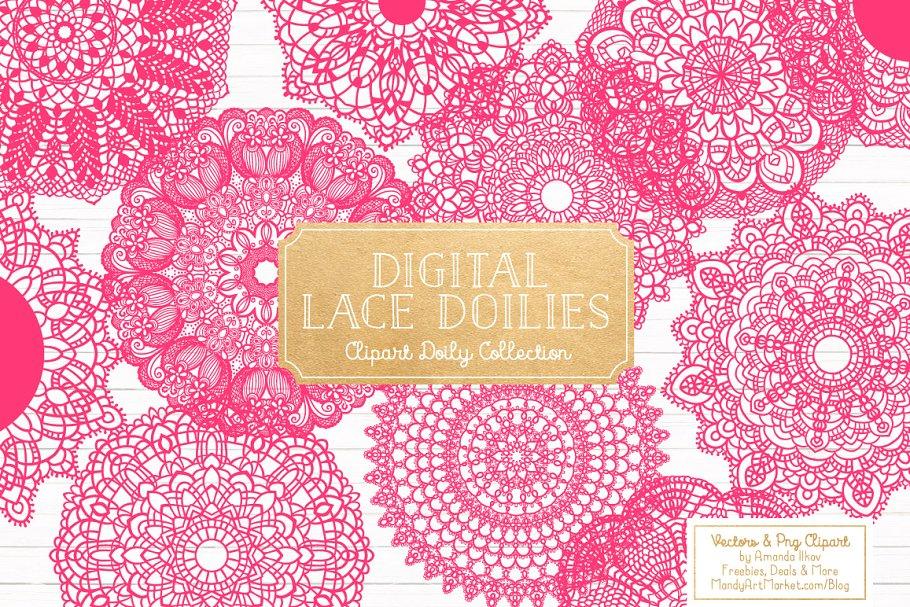 Hot Pink Lace Doilies, Doily Clipart.