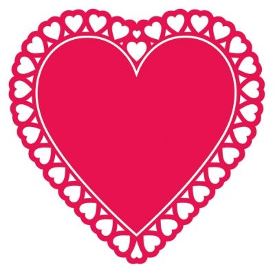 This lovely red doily heart cutout resembles a doily but is actually.