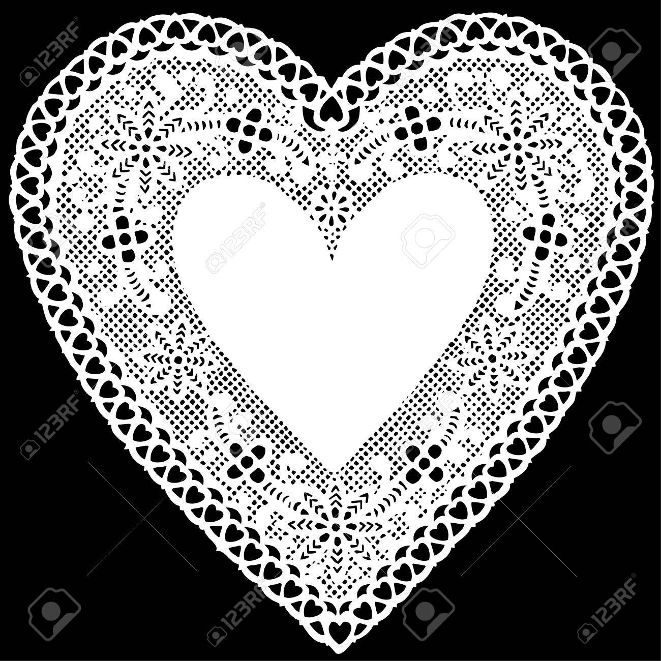 Antique White Lace Doily Heart with copy space..