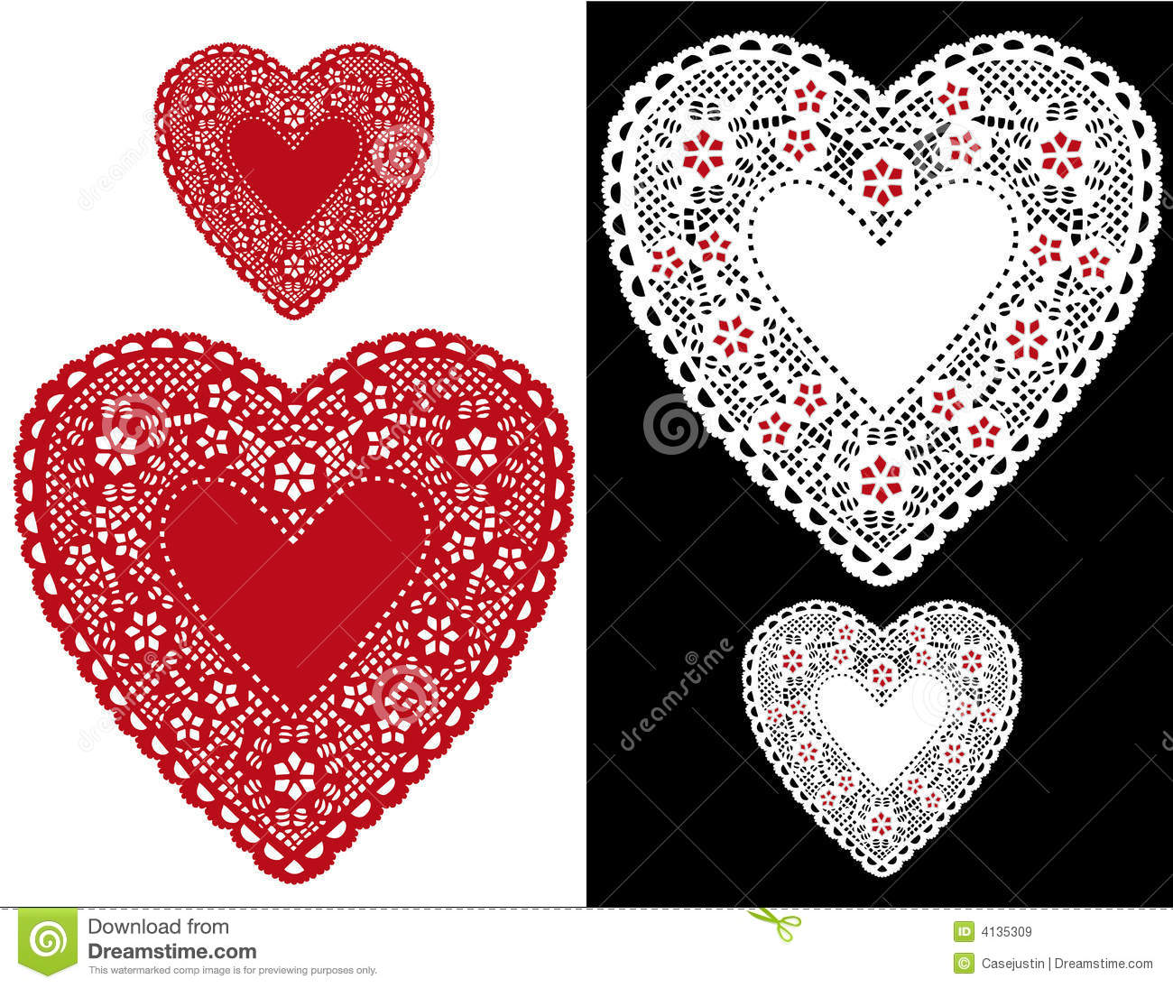 Heart Lace Doilies stock vector. Illustration of cotton.