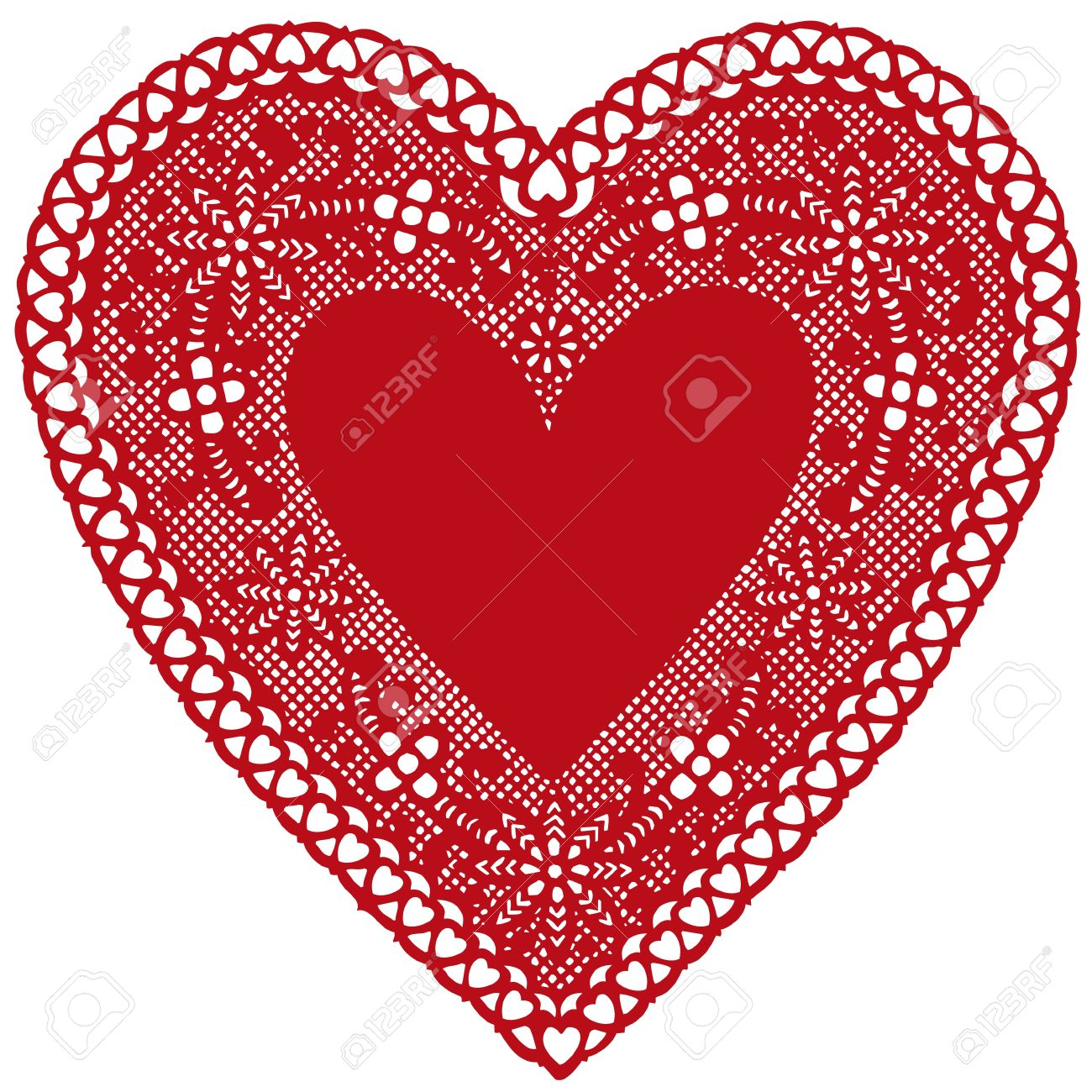 Antique Red Lace Doily Heart with copy space..