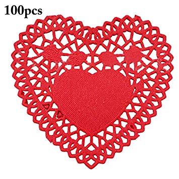 Paper Doilies, JUSTDOLIFE 100pcs Mini Cute Heart Food Doilies.