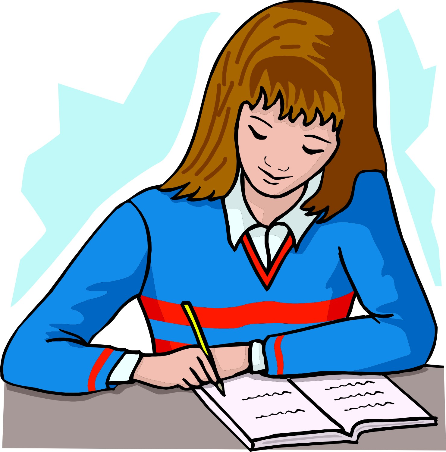 Student Doing Homework Clipart.