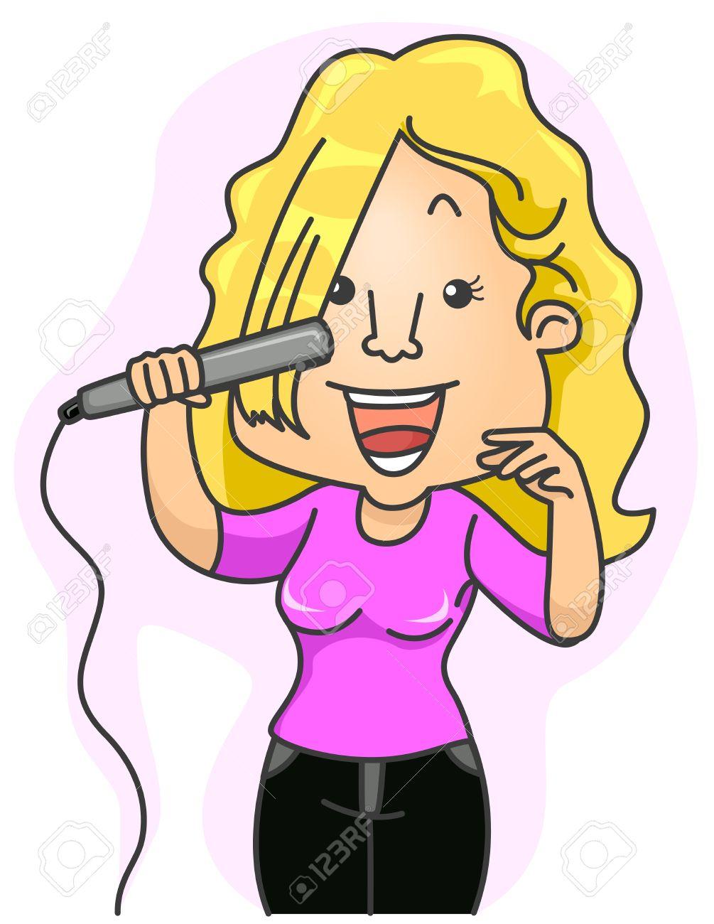 Girl Doing Her Hair Clipart.