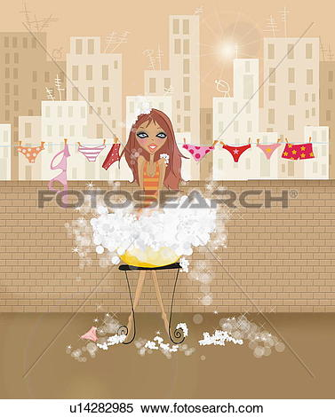Stock Illustration of Woman doing laundry by hand on terrace.