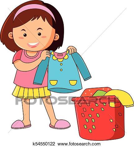 Little girl doing laundry Clipart.