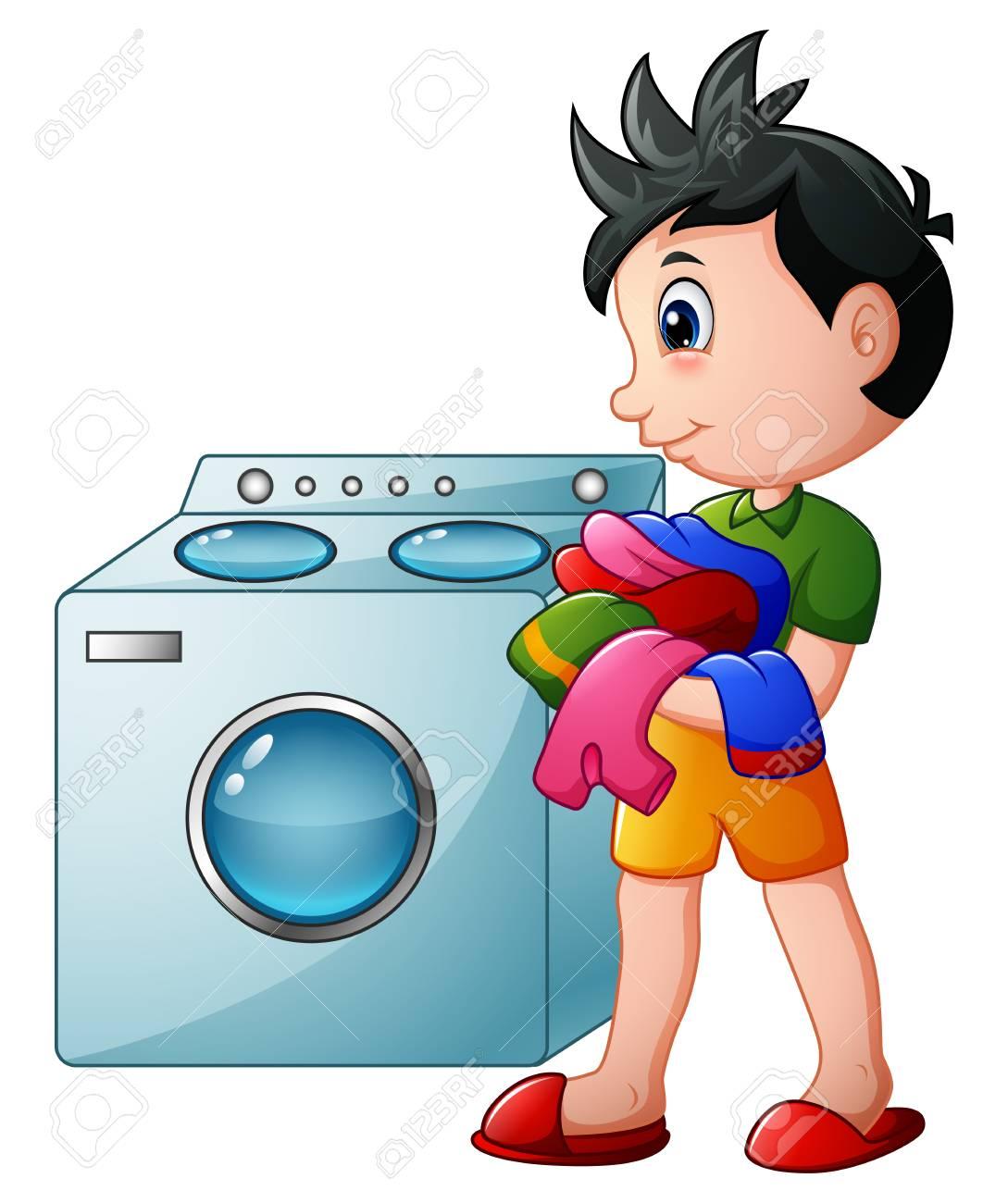 Boy doing laundry with washing machine.