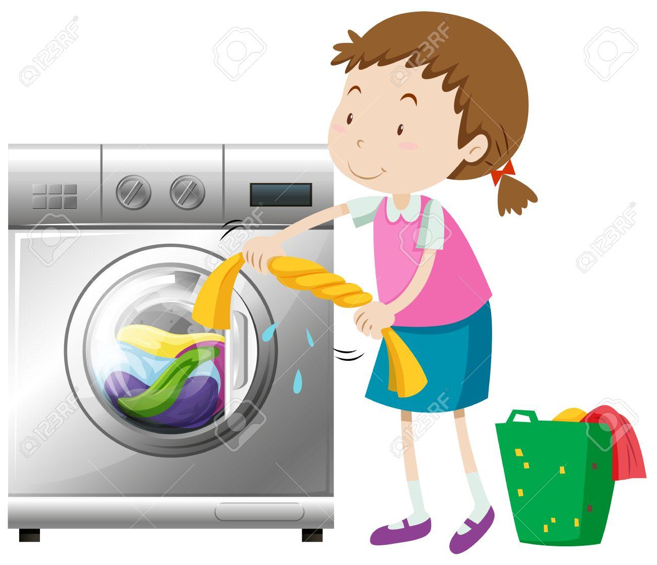 Girl doing laundry with washing machine illustration.