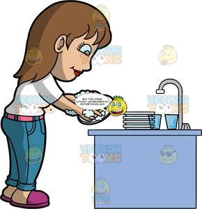 A Woman Doing The Dishes After Dinner.