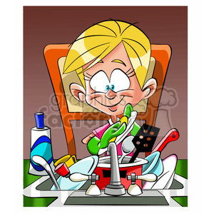 vector cartoon lady doing the dishes clipart. Royalty.
