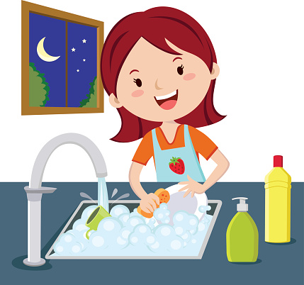Woman Washing Dishes Stock Illustration.