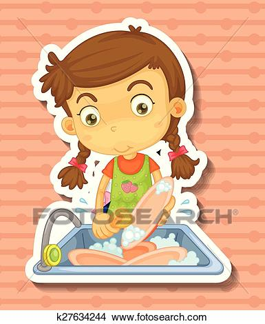Doing dishes Clipart.