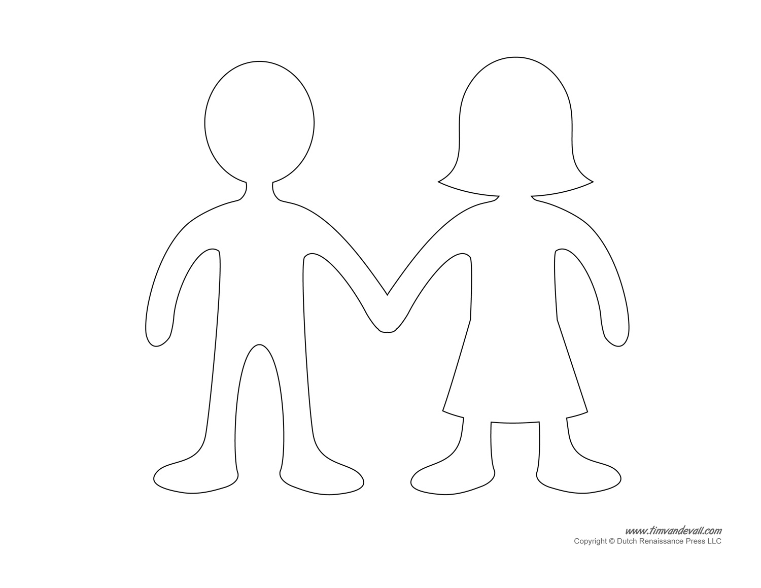 Paper Doll Outline With Blank Paper Doll Clipart : Paper Doll.