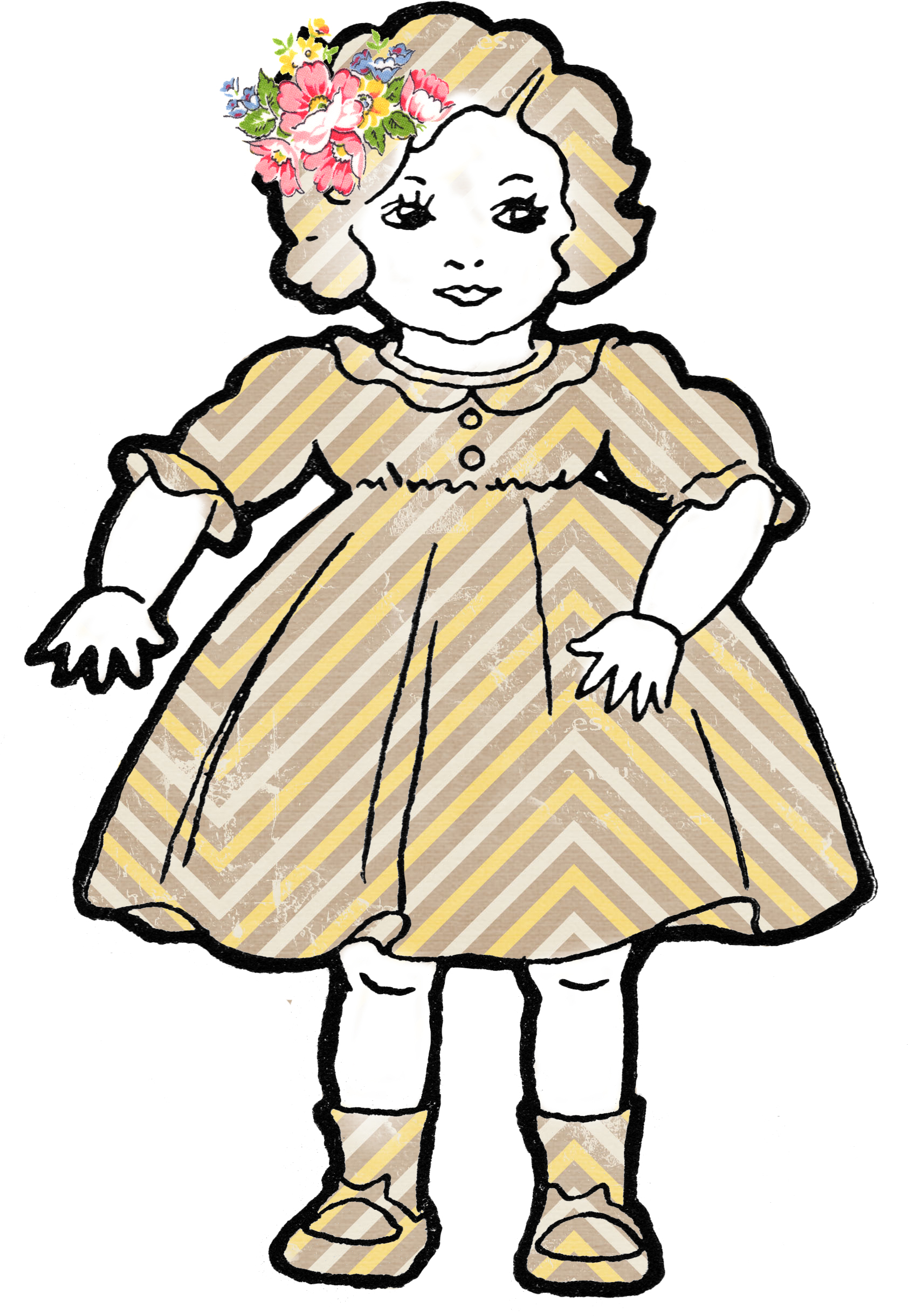 Vintage Doll Clipart.