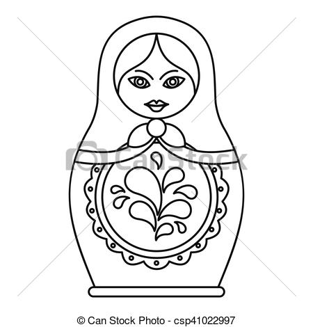 EPS Vectors of Russian nesting doll icon, outline style.