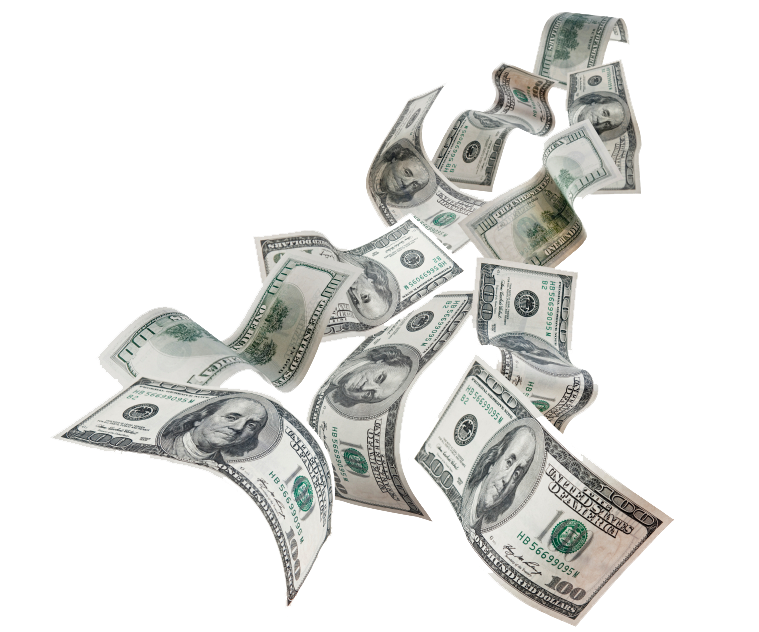 Flying Dollars PNG Photo.