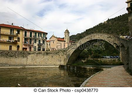 Stock Photography of Dolceacqua Bridge.