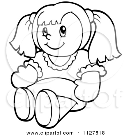 Doll Black And White Clipart.