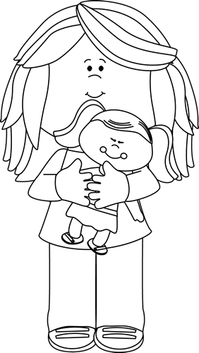 Black and White Little Girl Holding a Doll Clip Art.