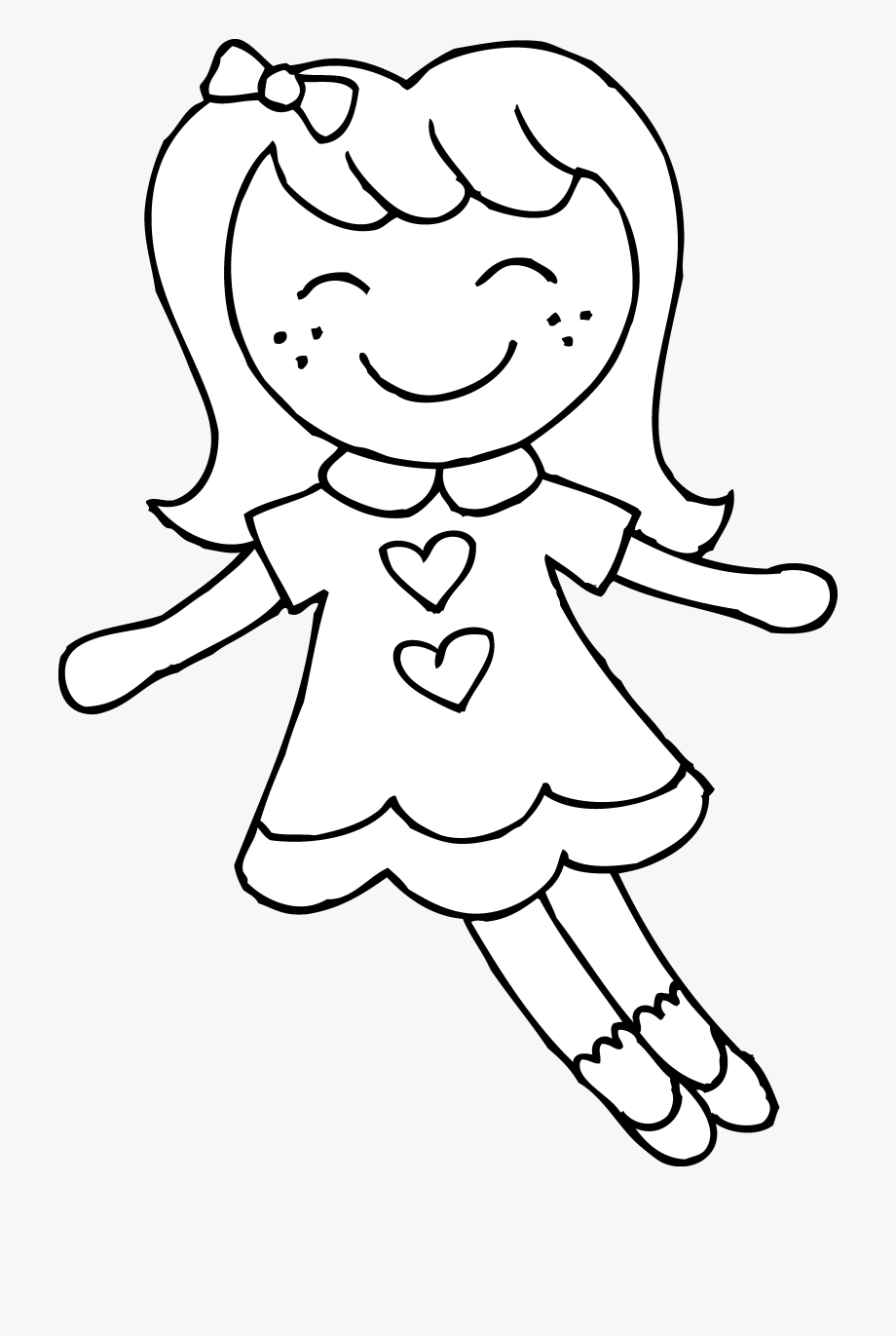 Cute Dolly Coloring Page.