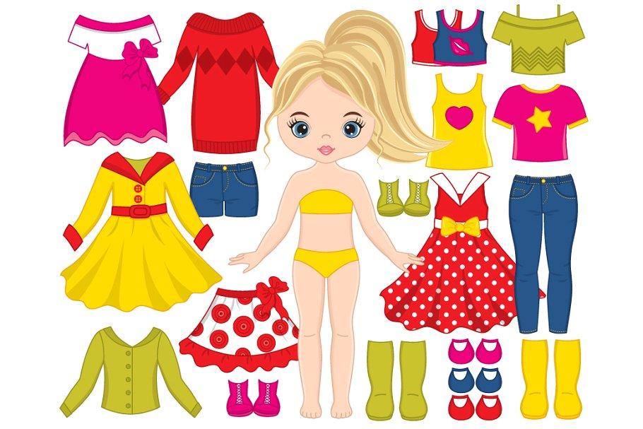Vector Dress Doll Clipart.