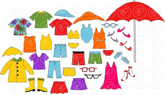 Dress Up for Summer Clothing and Paper Doll Clipart Set.