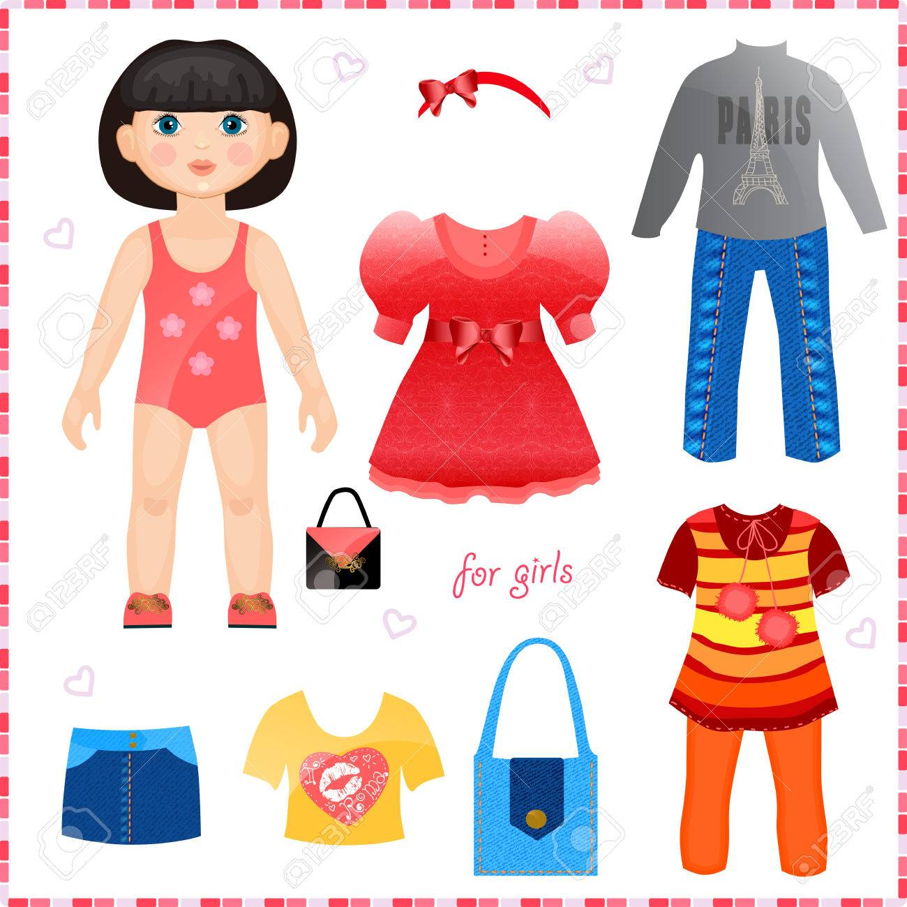 Paper doll with a set of clothes Cute fashion girl Template...