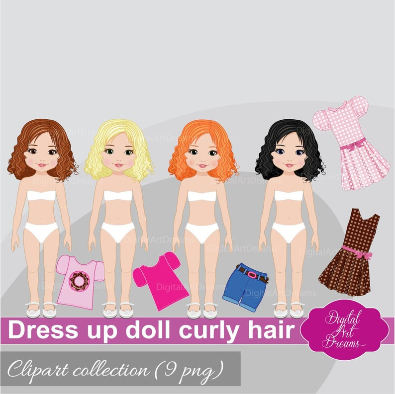 Cute Paper Doll Clipart, Little Girls Dress Up Clip Art, Cute Characters,  Curly Dolls Graphics, Digital Constructor png, Clothes Printables.