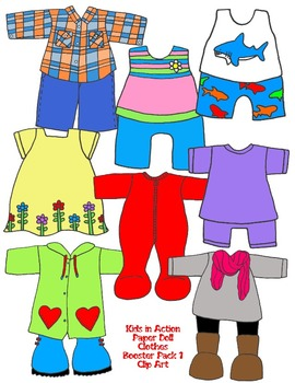 Kids in Action: Paper Doll Clothes Booster Pack 1 Clip Art 99 PNGs.
