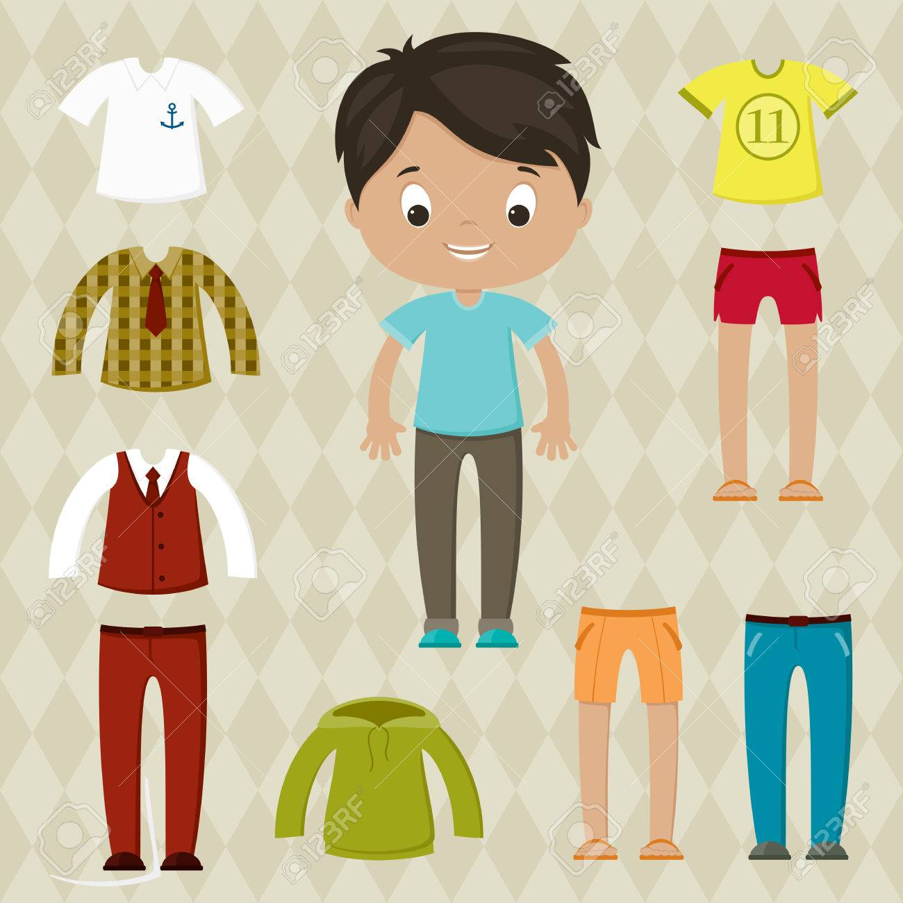 Dress up game. Boy paper doll. Clothes set..