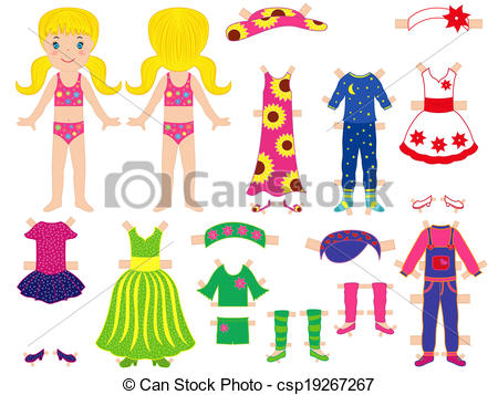 Paper doll and clothes set for her.